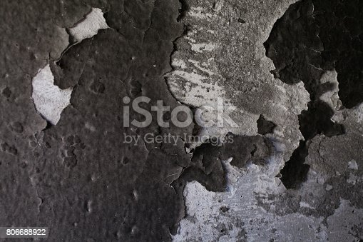 istock Burned wall texture. Burned wall background. Detail of a wall destroyed by fire. Abstract background and texture for designers. Close up view of burned wall. Grunge wall. 806688922