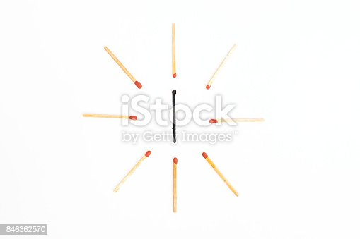 istock burned with new wooden match sticks. Different Concept 846362570