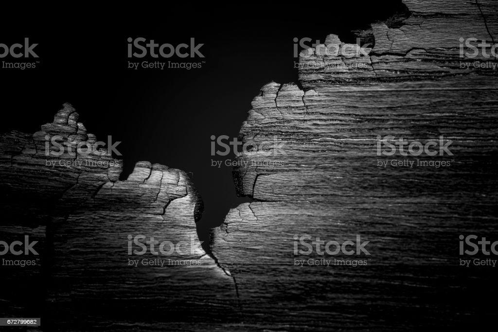 Burned wood texture. macro. – Foto
