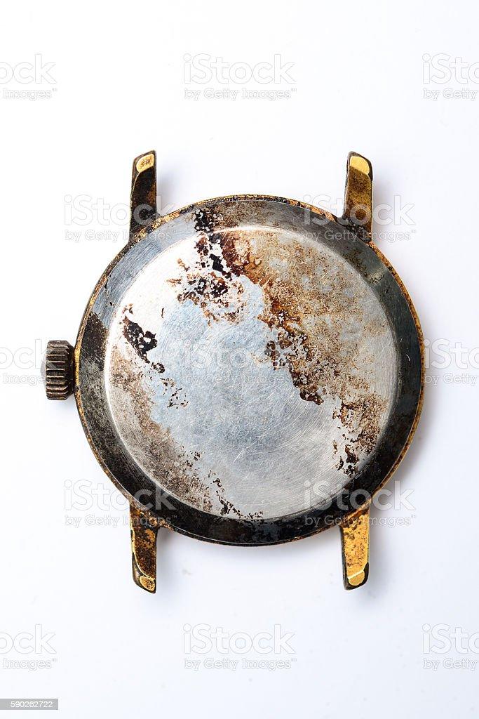 burned wristwatch on white background stock photo