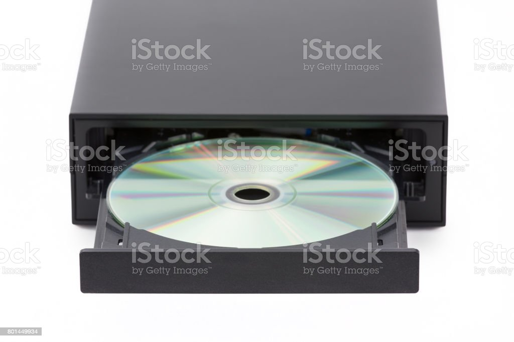 CD / DVD burner on white background. Top view stock photo