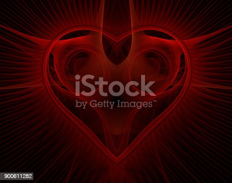 istock Burning and beating heart. Valentine's day background 900611282