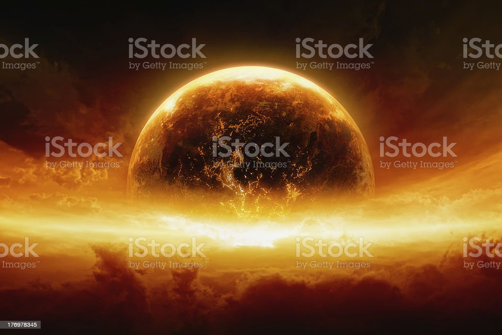 Burning and exploding planet Earth stock photo