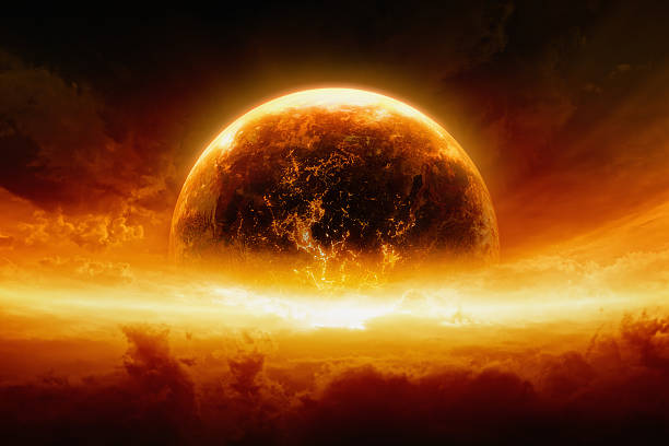 burning and exploding planet earth - apocalypse stock photos and pictures