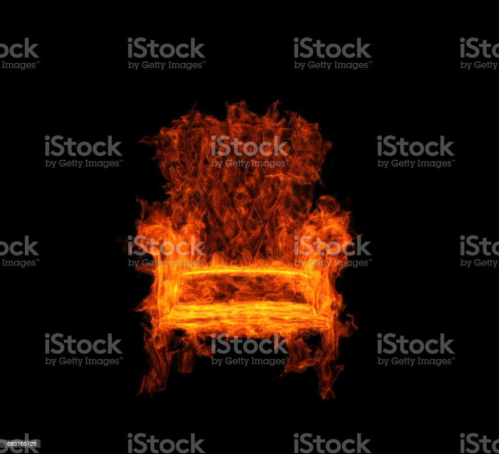 Charmant Burning Armchair Stock Photo