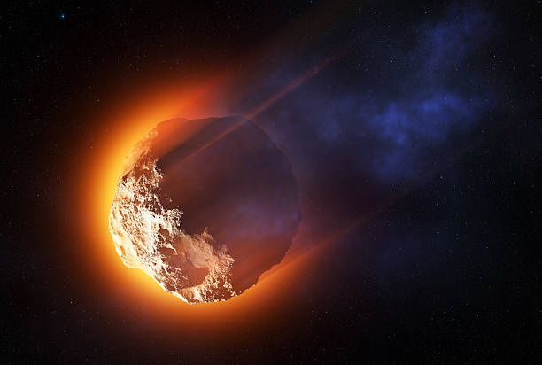 Burning asteroid entering the atmoshere stock photo