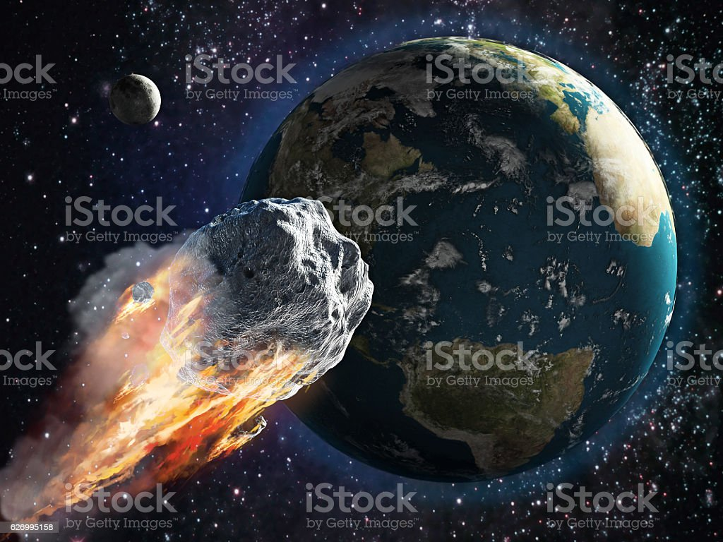 Burning asteroid moving through the Earth – Foto
