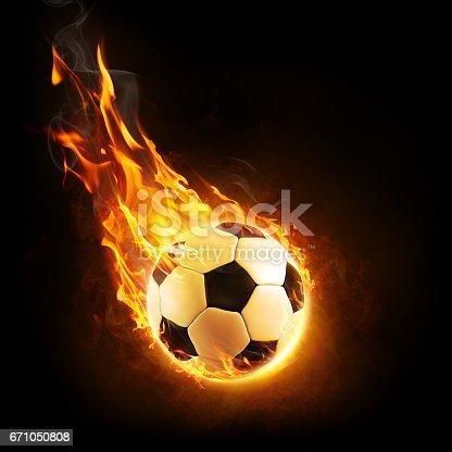 istock Burning Ball In Motion - 3D rendering 671050808