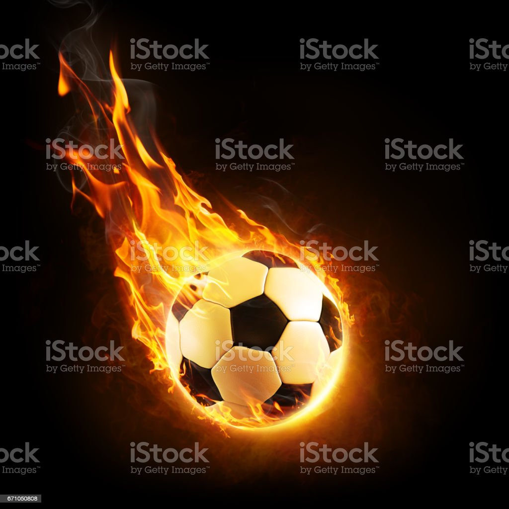 Burning Ball In Motion - 3D rendering stock photo