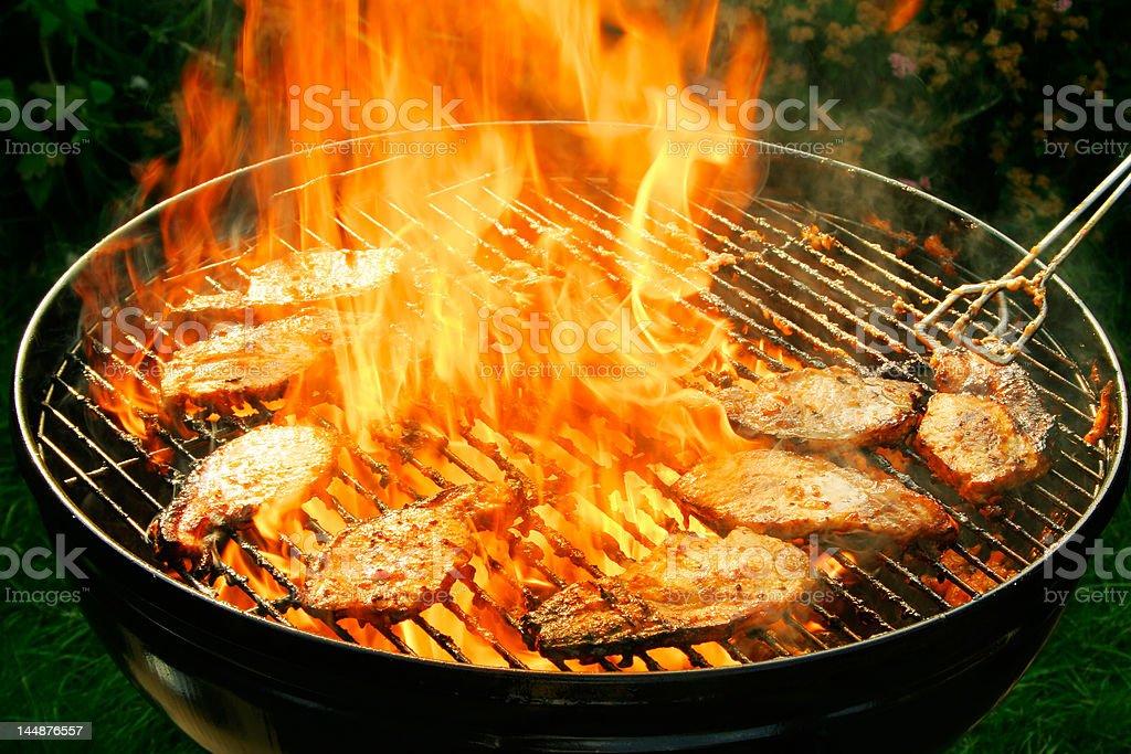 Burning barbecue royalty-free stock photo