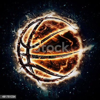 istock Burning basketball 491751234