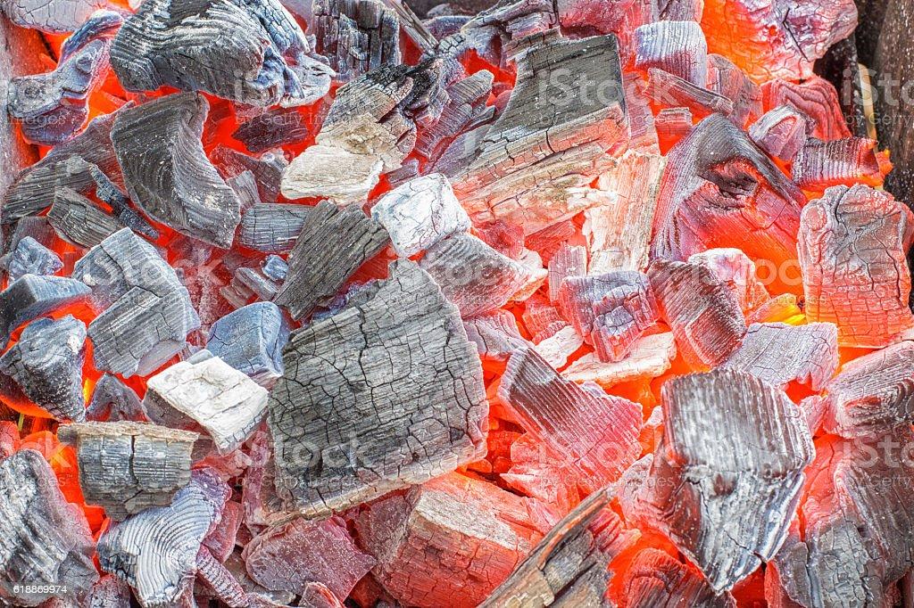 Burning BBQ charcoal stock photo