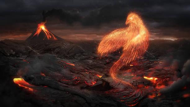 Quema pájaro de Phoenix en el paisaje volcánico - foto de stock