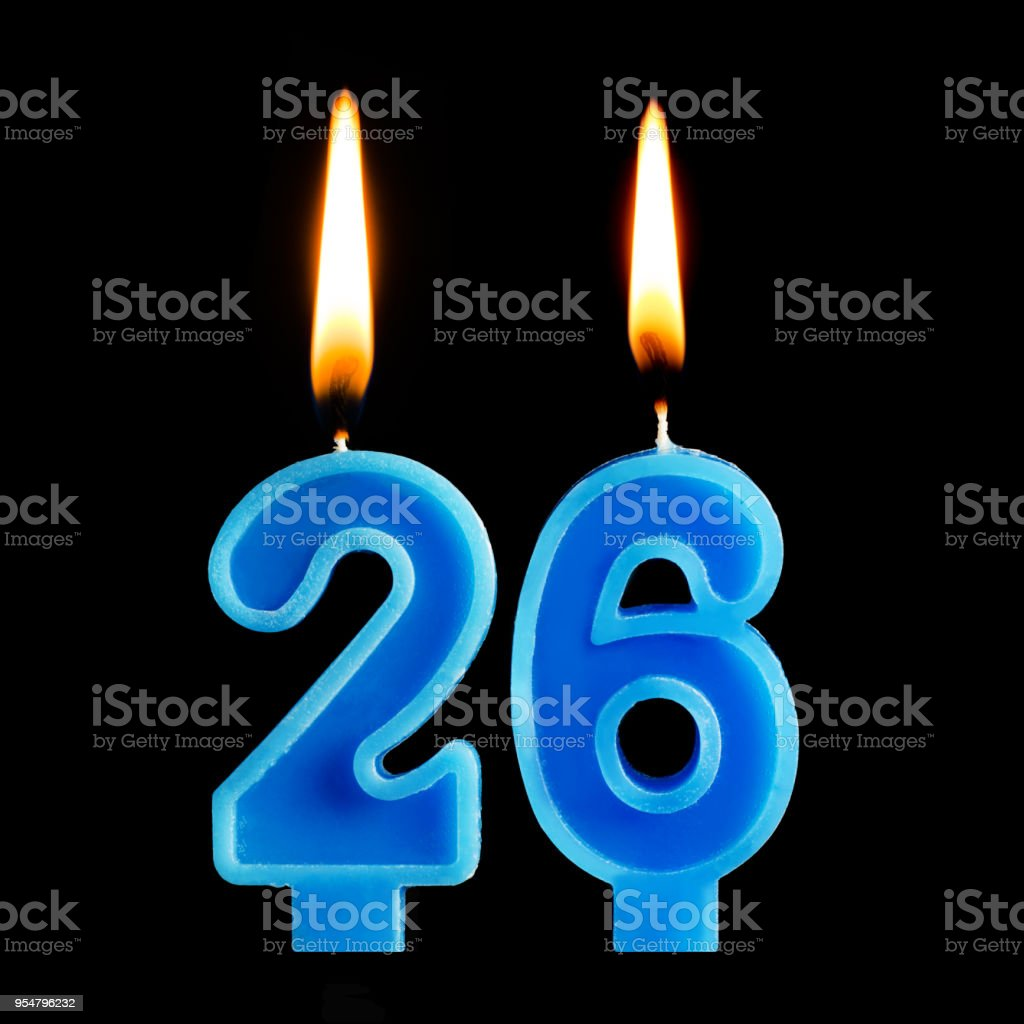 Burning Birthday Candles In The Form Of 26 Twenty Six For Cake Isolated On Black Background Concept Celebrating A Anniversary