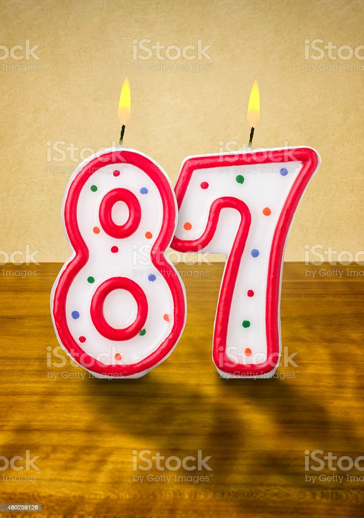 Burning Birthday Candles Number 87 Royalty Free Stock Photo