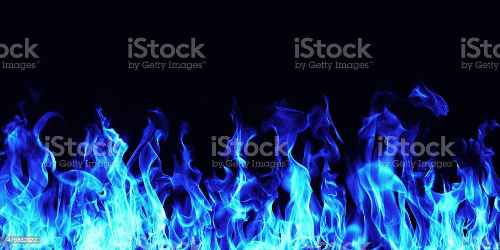 burning Blaues Feuer Flammen auf schwarzem Hintergrund – Foto