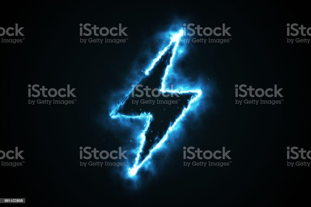 Brinnande blå lågan lightning form på svart bakgrund, 3d illustration bildbanksfoto