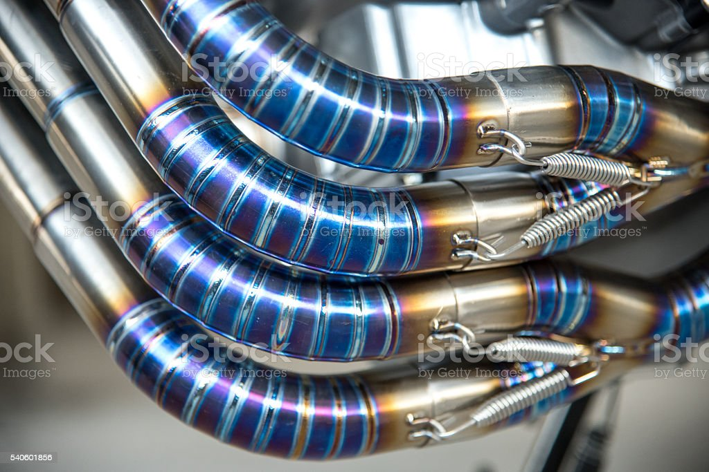 burning blue titanium welding pipe stock photo