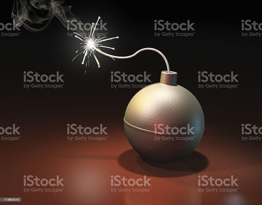 Burning bomb stock photo
