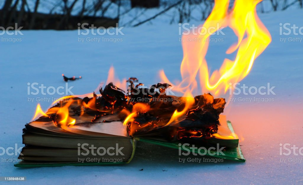 burning book in the snow. pages with the text in the open book burn...