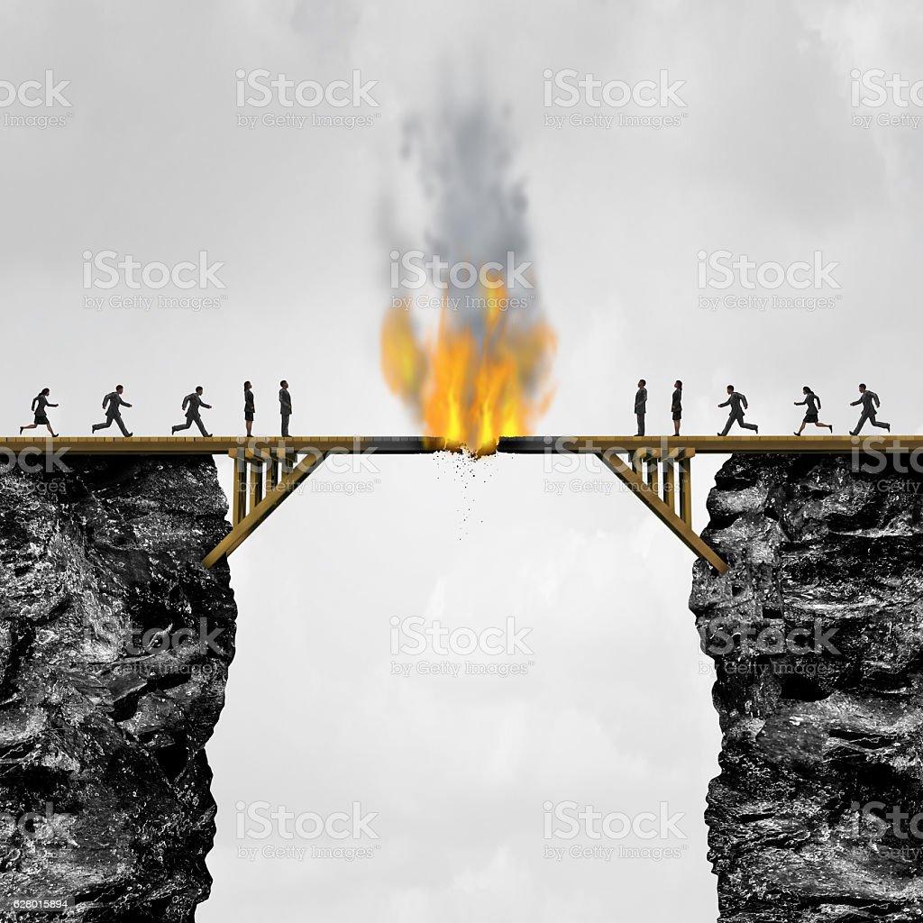 Burning Bridges Concept stock photo