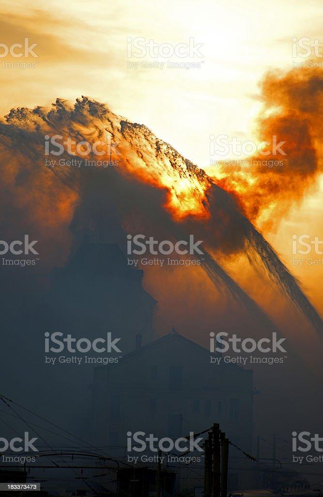burning building royalty-free stock photo