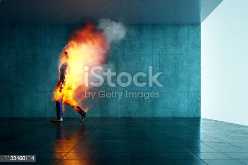 Burning businessman in the office. This is entirely 3D generated image.