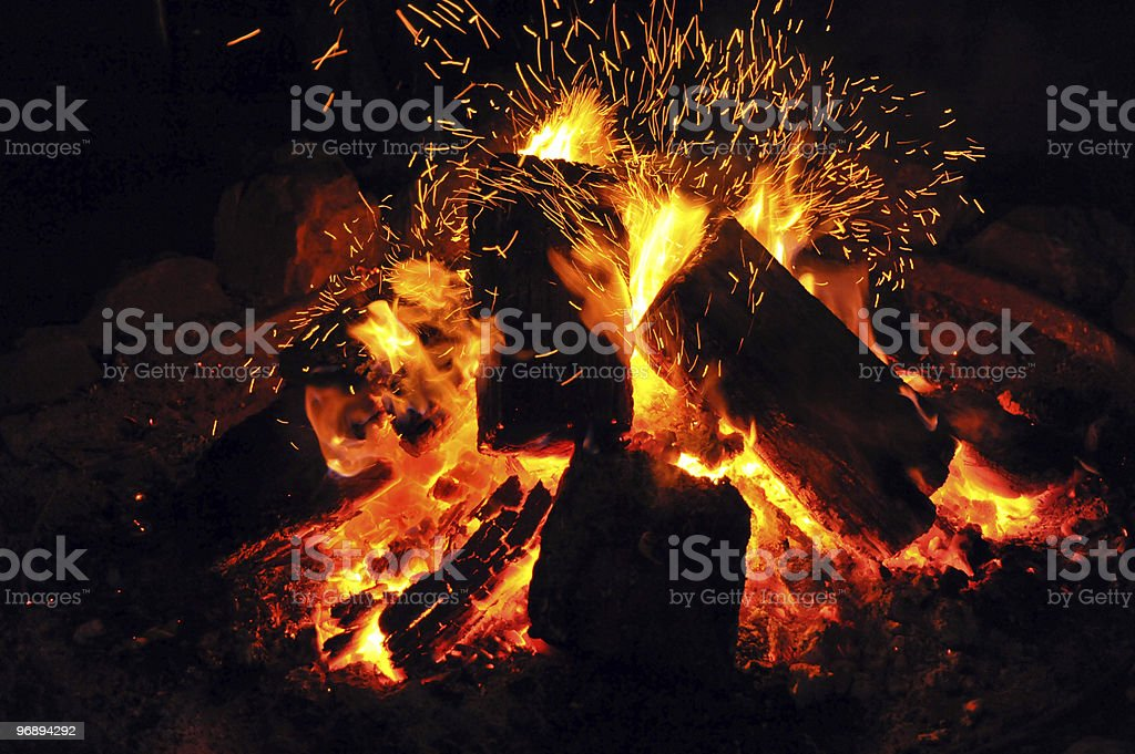 Burning Camp Fire royalty-free stock photo