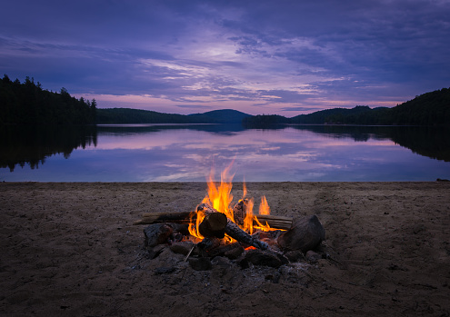 Burning campfire on the beach on my kayak camping trip