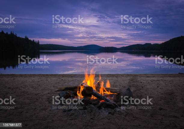 Photo of Burning campfire on the beach on my kayak camping trip