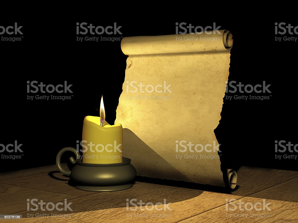 Burning candle and the ancient manuscript royalty-free stock photo