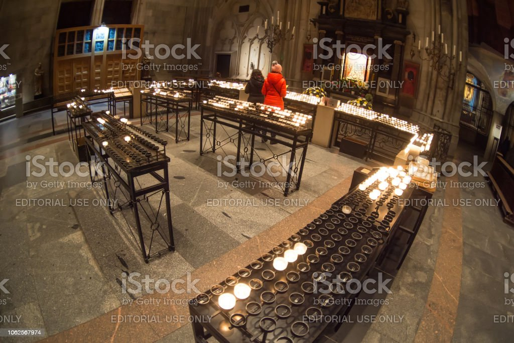 Burning candles at the Cologne Cathedral. Germany stock photo