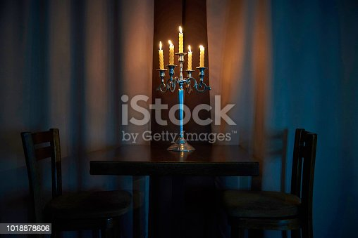 847138534 istock photo Burning candles in candlesticks 1018878606