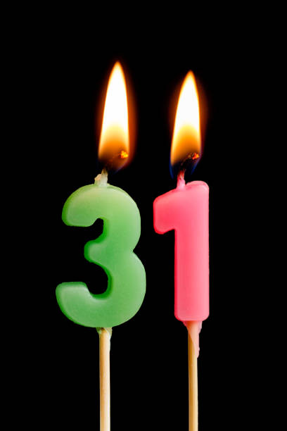 Burning Candles In The Form Of 31 Thirty One Numbers Dates For Cake