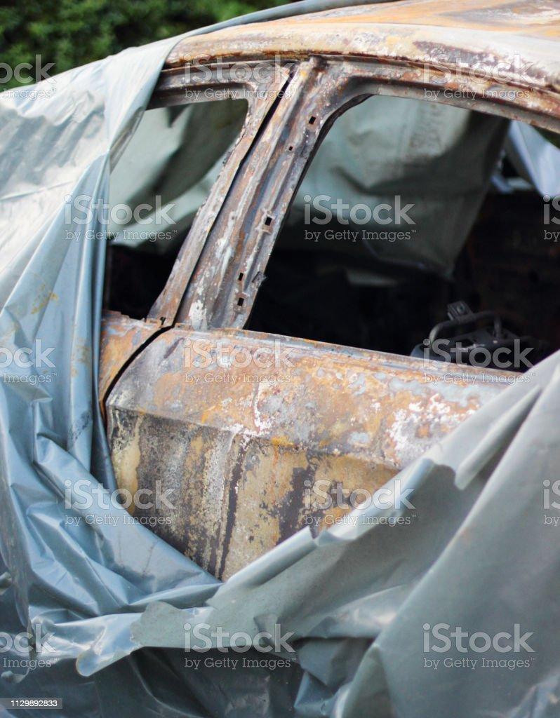 Burning Car - fotografia de stock