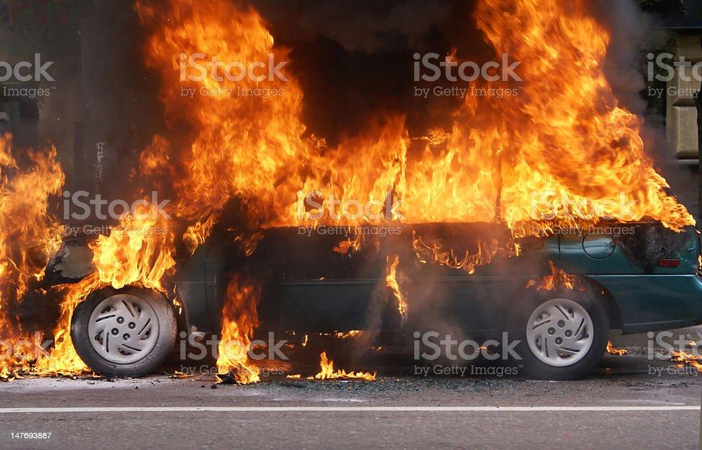 Burning car stock photo
