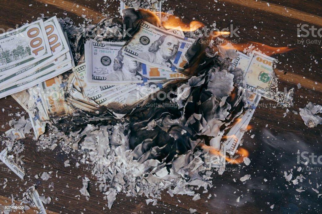Burning cash stock photo