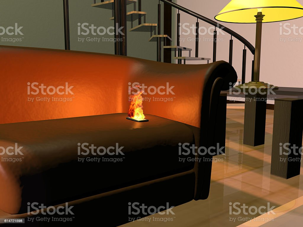 burning cell phone bildbanksfoto