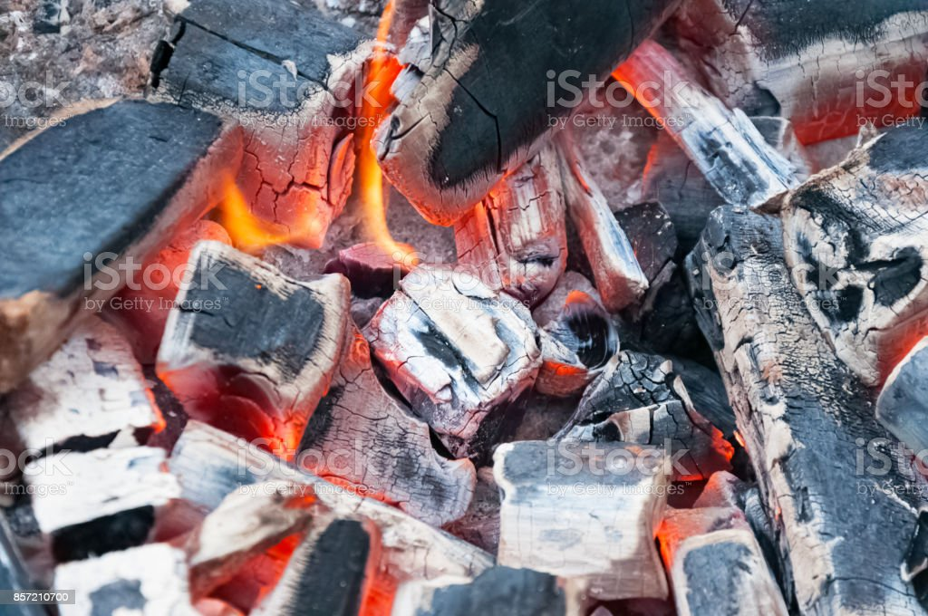 Burning charcoal in BBQ Grill Pit . Cooking, grilling. stock photo