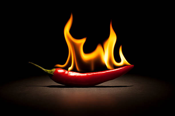 burning chili pepper - fire flame - chilli stock photos and pictures