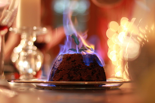 Christmas Pudding On Fire.Burning Christmas Pudding Stock Photo Download Image Now