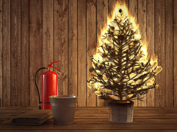 burning christmas tree with extinguisher and bucket beside. 3d rendering – Foto