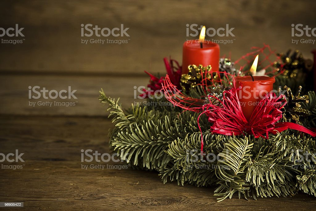 Burning christmas wreath royalty-free stock photo