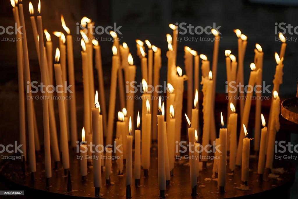 Burning Church Candles On Dark Background Christian Symbol Stock