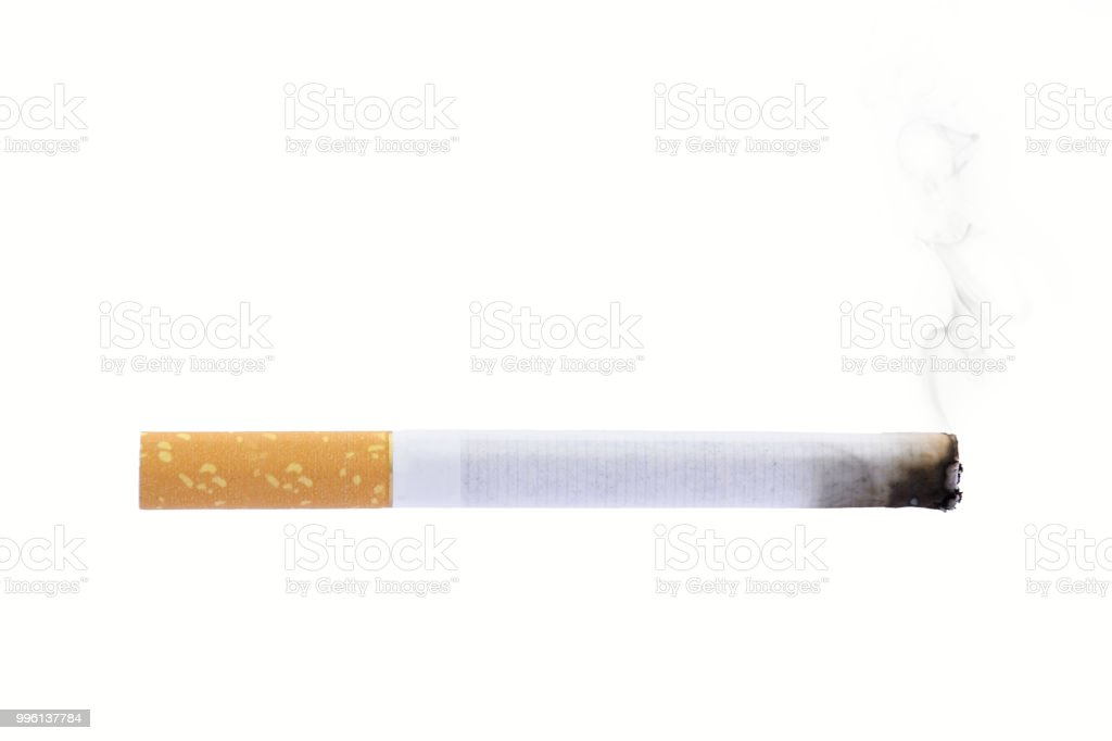 Burning cigarette smoke isolated on white background smoking stock photo
