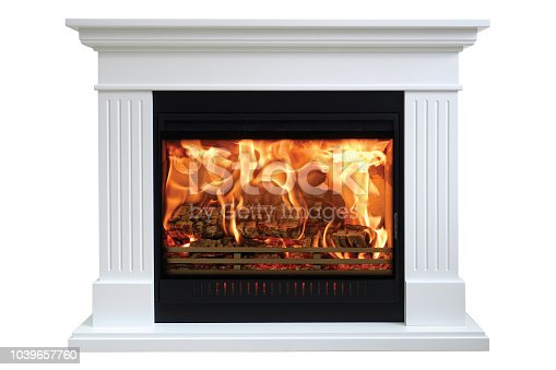 istock Burning classic fireplace of white marble. Isolated on white 1039657760