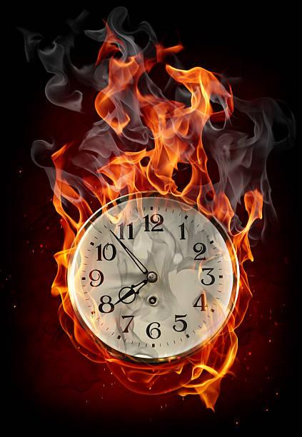 Burning clock stock photo