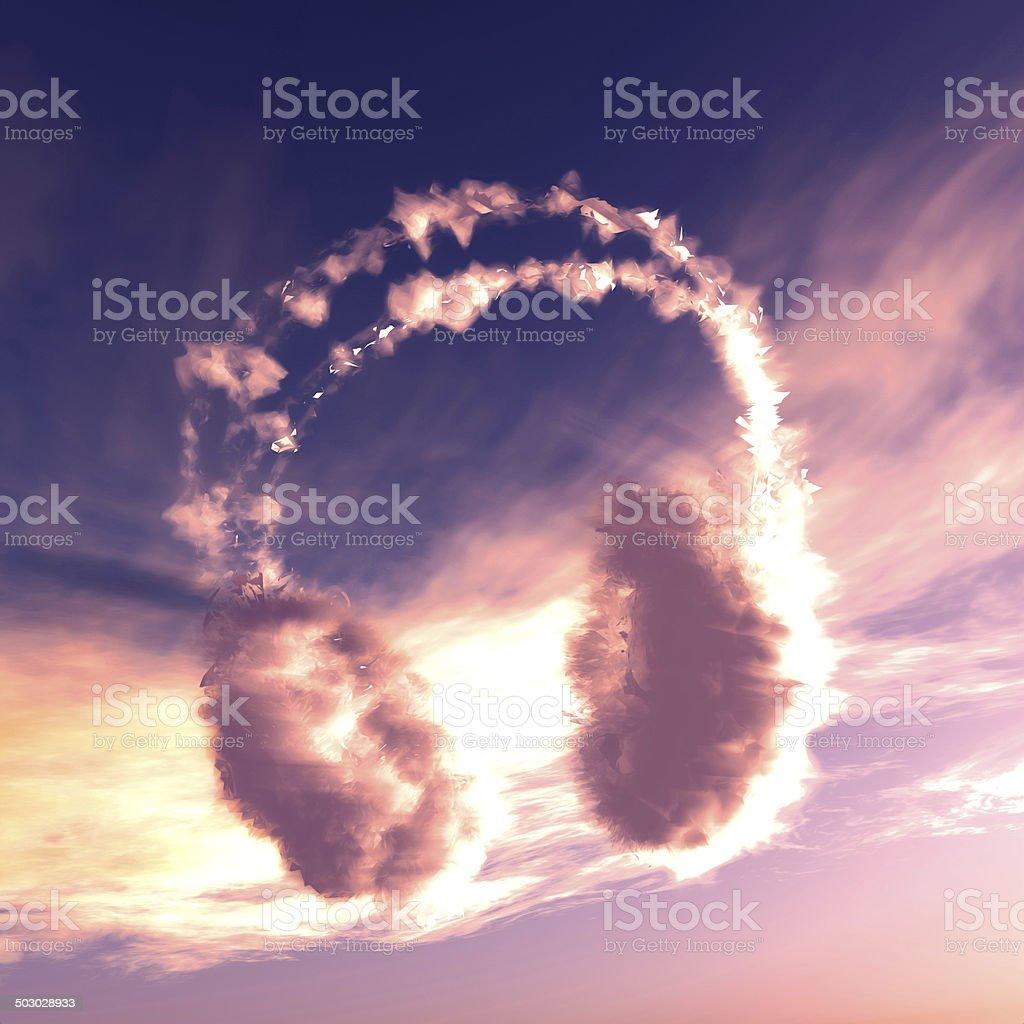 Burning cloud headphone. stock photo