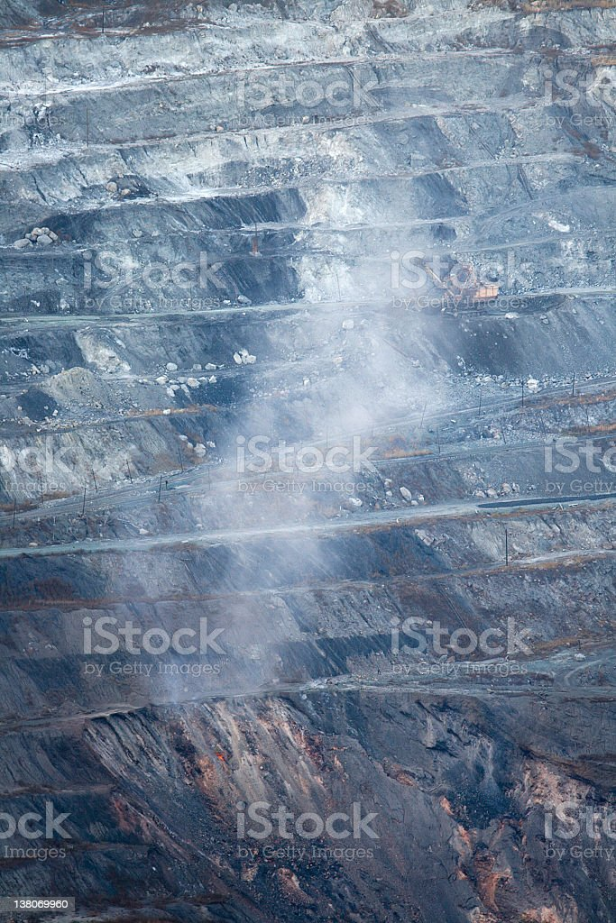 Burning coal in the mine stock photo
