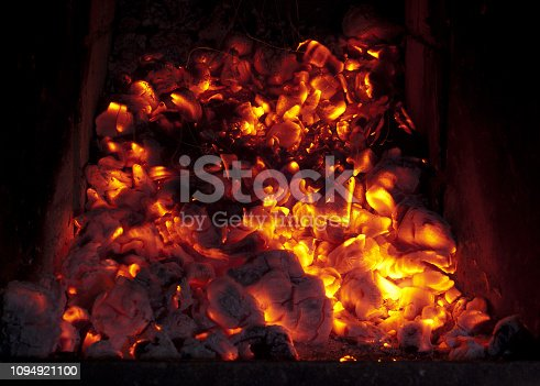 istock burning coals in the furnace 1094921100